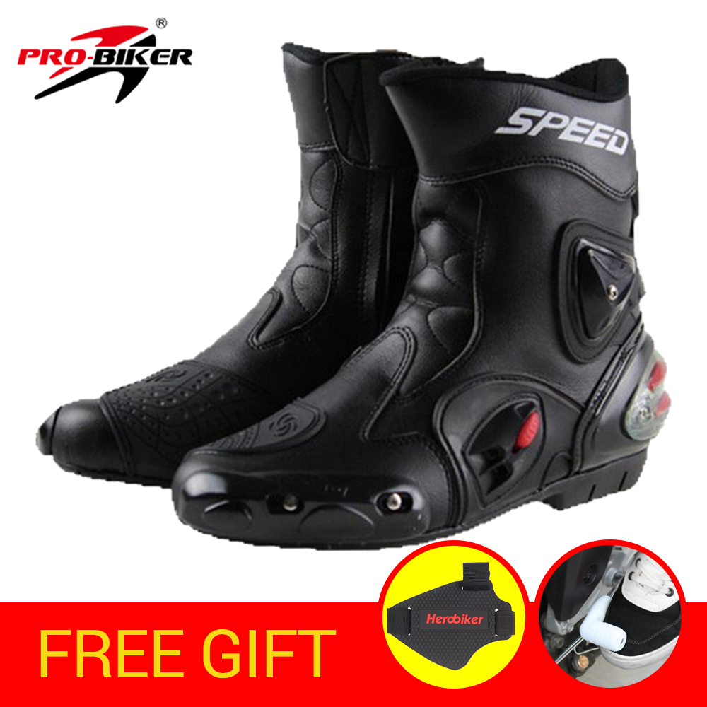 PRO-BIKER SPEED BIKERS Motorcycle Boots Wear-resistant Microfiber Leather Racing Motocross Boots Moto Riding Motorbike Shoes