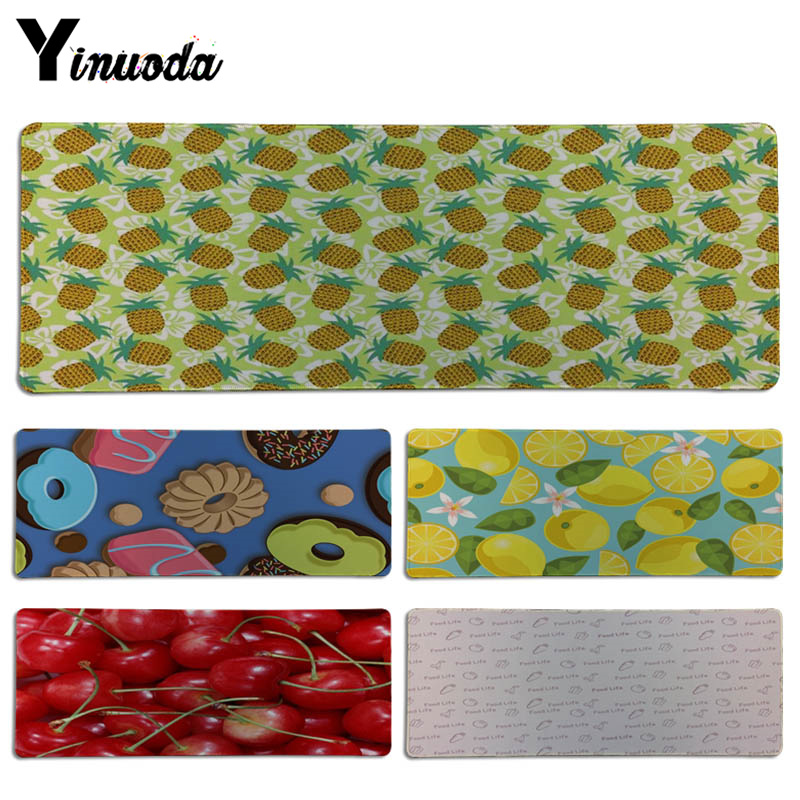 Yinuoda Simple Design Food Life Lemon and cherry DIY Design Pattern Game Lockedge mousepad Size for 300*900*2mm Game Mousepad