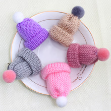 2Pcs/set Cute Knitted Woolen Hat Sweater Brooch Pins Badge Mini Kawaii HairBall Brooches Cartoon Fashion Jewelry for Girls Kids(China)