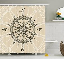 Ships Wheel Decor Shower Curtain Vintage Ship Wheel Antique Sailboat Navigation Tool Monochromic Nostalgic Deco Bathroom Set(China)