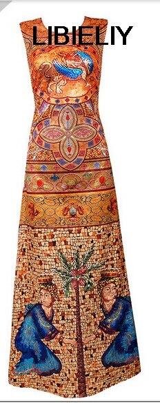 Belle robe en soie imprimée de Style National pour les vêtements de femmes