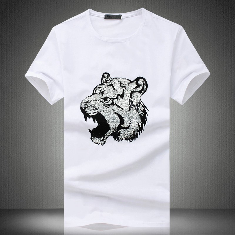 Tiger head pattern embroidery sequins high-end short sleeve t shirt Summer  2019 New high e4a41c27414e