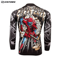 Gray Men Bike Long jersey Red Skull Pro Team Cycling clothing Riding Top Male MTB Ropa Ciclismo Wear Maillot Long Sleeve Shirts