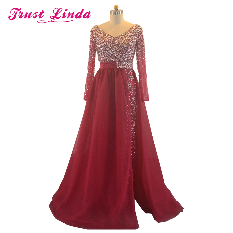 Real Sample New Collection Mother Dresses long Sleeves Handmade Beaded Crystal Burgundy A Line Prom Dresses Long evening Gowns