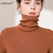 Lafarvie Slim Cashmere Blended Knitted Sweater Women Tops Turtleneck Long Sleeve Warm Pullover Female Knitting Jumper 5 Colors