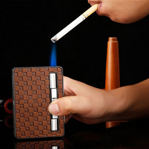 Cigarette Box Case With Lighter Refillable Gas Tobacco Leather Automatically Ejection Case Load 10 pcs Cigarettes(China)
