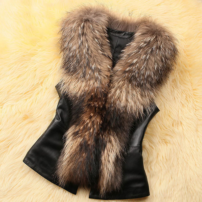 AOTEMAN Faux Fur Women Winter Coat 2018 New Casual Sleeveless Faux Fox Fur Collar Vest PU   Leather   Winter Black Jacket Coat Women