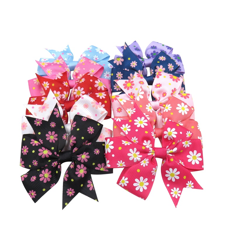 1PCS  Novelty Sun Flower Print Elastic Hair Bands Girls Ribbon Bows Girls Hair Tie Rope Hair Accessories Best Holiday Gifts 2018