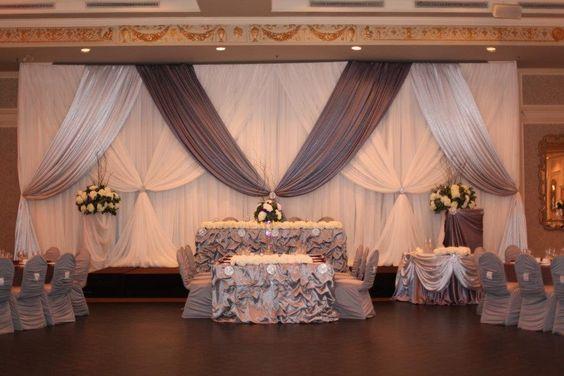 10ft x 20ft Mariage Blanc Toile De Fond avec gris festons, rideau de scène de mariage décoration