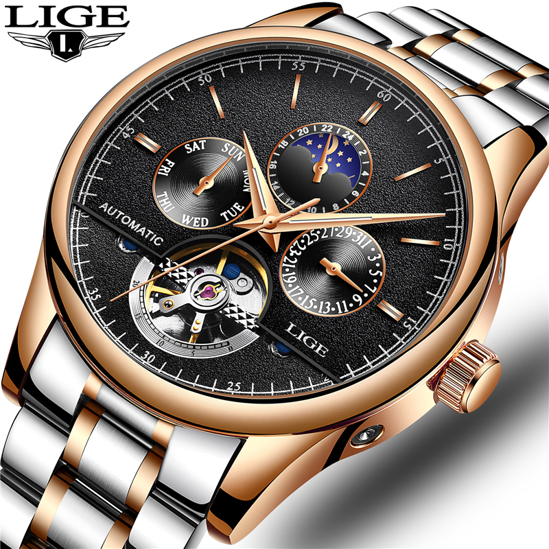 Relogio Masculino LIGE Watch Men Top Brand Luxury Automatic Mechanical mens watches Full Steel Business Waterproof Sport Watch relogio masculino guanqin brand luxury men business tourbillon skeleton watches full steel waterproof automatic mechanical watch