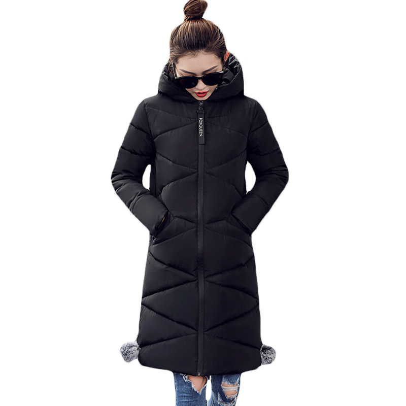 Plus Size Women Clothing 2017 Winter Parka Loose Thickening Hooded Cotton Padded Warm Jacket Coat Women's Long Outerwear XH671 2015 cotton padded elderly warm thickening long cotton padded jacket mens new single breasted wholesale zipper loose coat d10