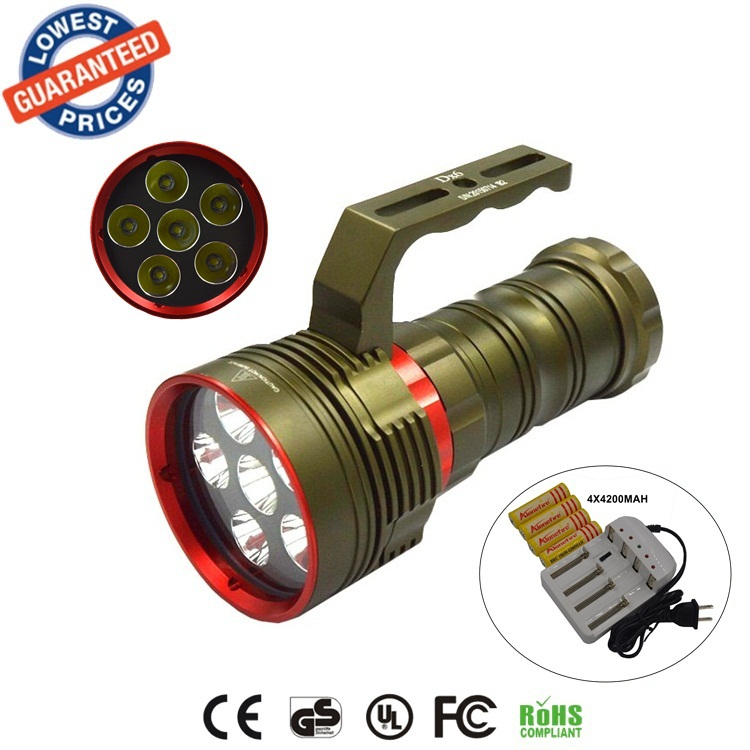 DX6 Bright 6XCREE XM-L2 9000LM 200M LED Diving Flashlight L2 LED Light Lamp Lanterna Diving Torch + 4x18650 battery+charger boruit 18 xm l2 powerful led flashlight 5 mode portable tactical flash light waterproof aluminum camping hunting torch lanterna