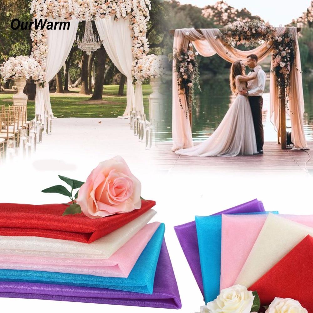 OurWarm Wedding Decoration 10M Organza Roll Tulle Fabric for Wedding Party Supplies Birthday Baby Shower Decor DIY Craft Supply
