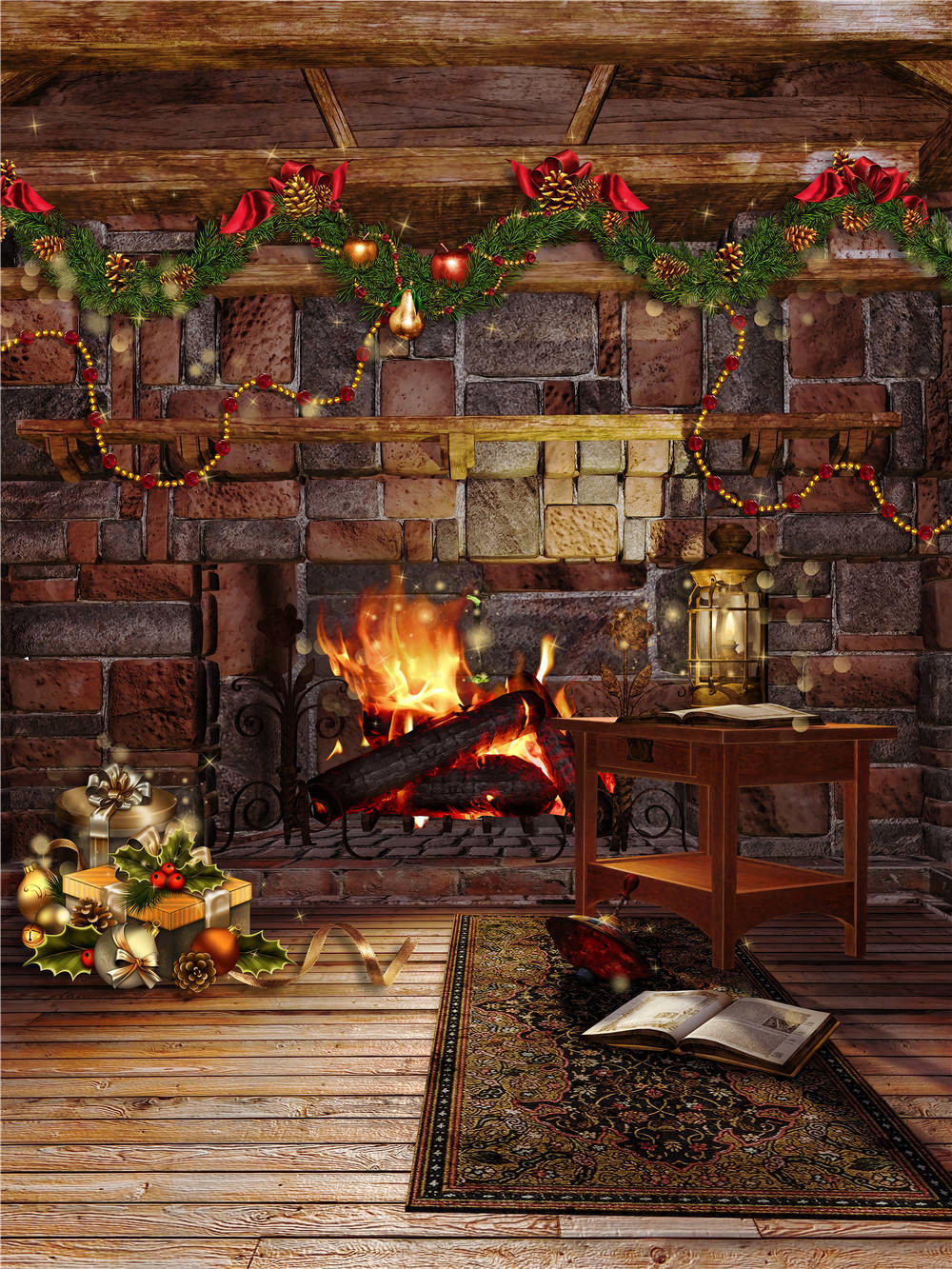 Vinyl Christmas Photo Props Studio Fireplace Backdrops Table Wooden Floor Photography Background 5x7ft or 3x5ft christmas053 ocean photo studio props sky background vinyl cloud photography backdrops wooden floor 5x7ft or 3x5ft jieqx297