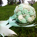 ramos de novia 2016 In Stock Holding Flowers with Pearls Wedding Flowers Bridal Bouquets Mint Green Handmade brooch bouquet