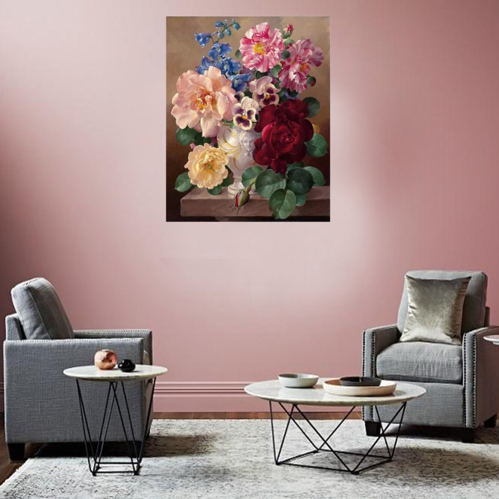 RIHE Blooming Flower Drawing By Numbers Elegant Environment DIY Painting Handwork On Canvas Oil Painting Art Coloring For Home in Painting Calligraphy from Home Garden