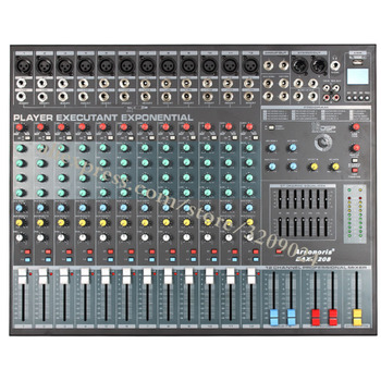 Pro Karaoke Audio Sound Mixer 12 Channel Microphone Mixing Amplifier Console With USB SD Built-in 48V Phantom Power