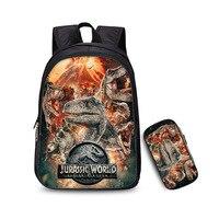 Various Jurassic monster World Park Backpack with Zipper Pencil case Dinosaur pattern knapsack Schoolbag Toys Gift For Children