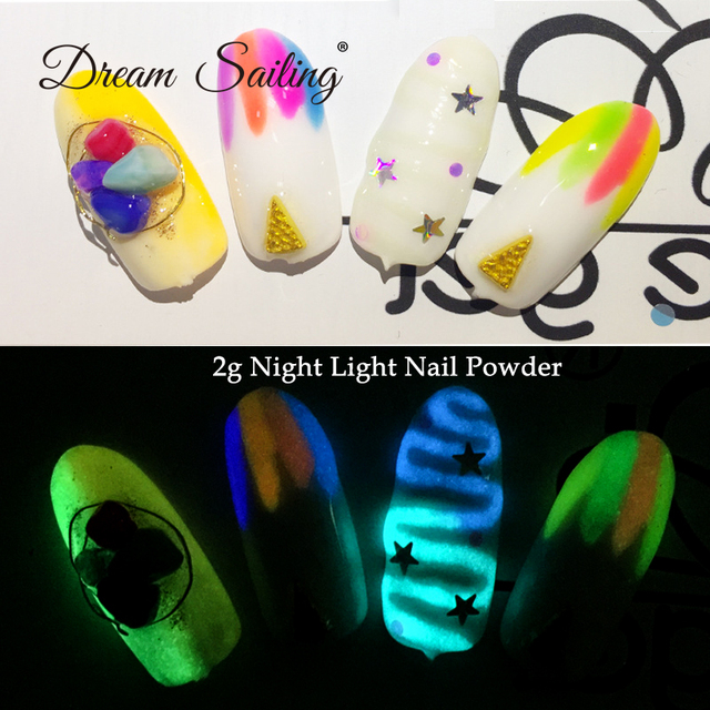 2g Nail Night Light Powder Party Shining Chrome Pigment Luster Dust  Manicure Holographic Nail Art Decoration