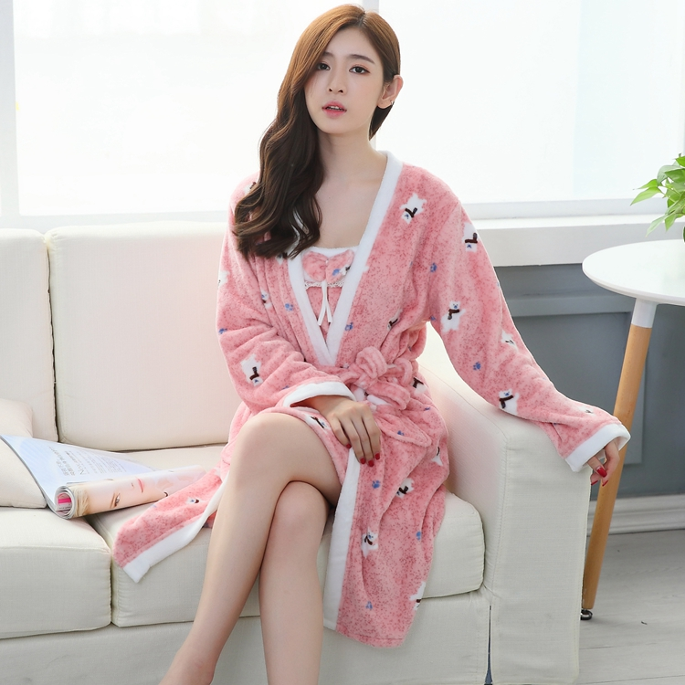 2PCS Sexy Thick Warm Flannel Robes Sets for Women 2018 Winter Coral Velvet Lingerie Night Dress Bathrobe Two Piece Set Nightgown 284