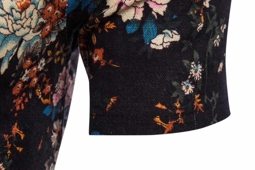 Hombres verano Bohe Floral manga corta Lino camisa básica blusa Top más tamaño 5XL soporte al por mayor y Dropship