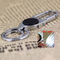 Led Light Polished Silver Pants Buckle Keychain Waist Belt Clip Hanging Double Loops Keyring Key Chain Ring Key Fob 84041