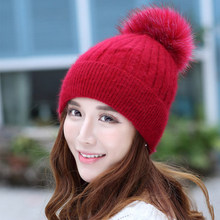 Women Warm Natural Raccoon Fur Hats for Knitted Braid Beanie Wool Female Caps Pompon Headgear Winter Girl Lady Skullies Hats(China)