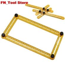 Многофункциональная Пластиковая Складная линейка, четырехсторонний измерительный инструмент, угломер, транспортир, мультиугловая линейка, инструмент для компоновки, угловая линейка