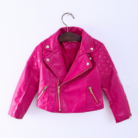 2016 Fashion Baby Girls Zipper Faux Leather Jackets Coat Kids Trendy Tops Outwear Autumn Winter Baby