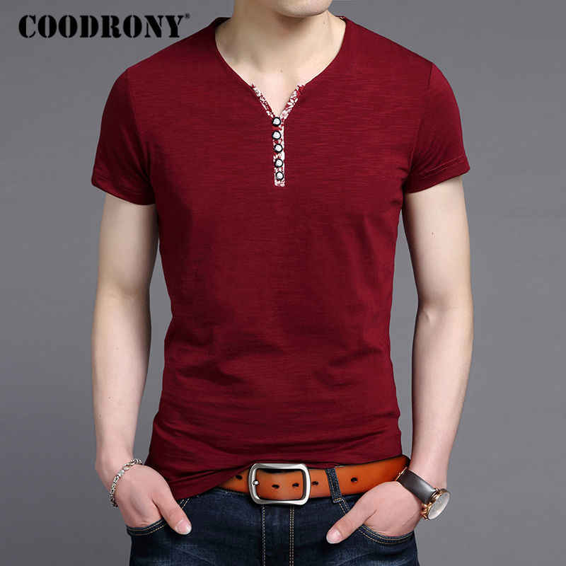 COODRONY Short Sleeve T Shirts Men Casual Button Henry Collar T-Shirt Men Clothing 2018 Summer Tops Cotton Tee Shirt Homme S8650