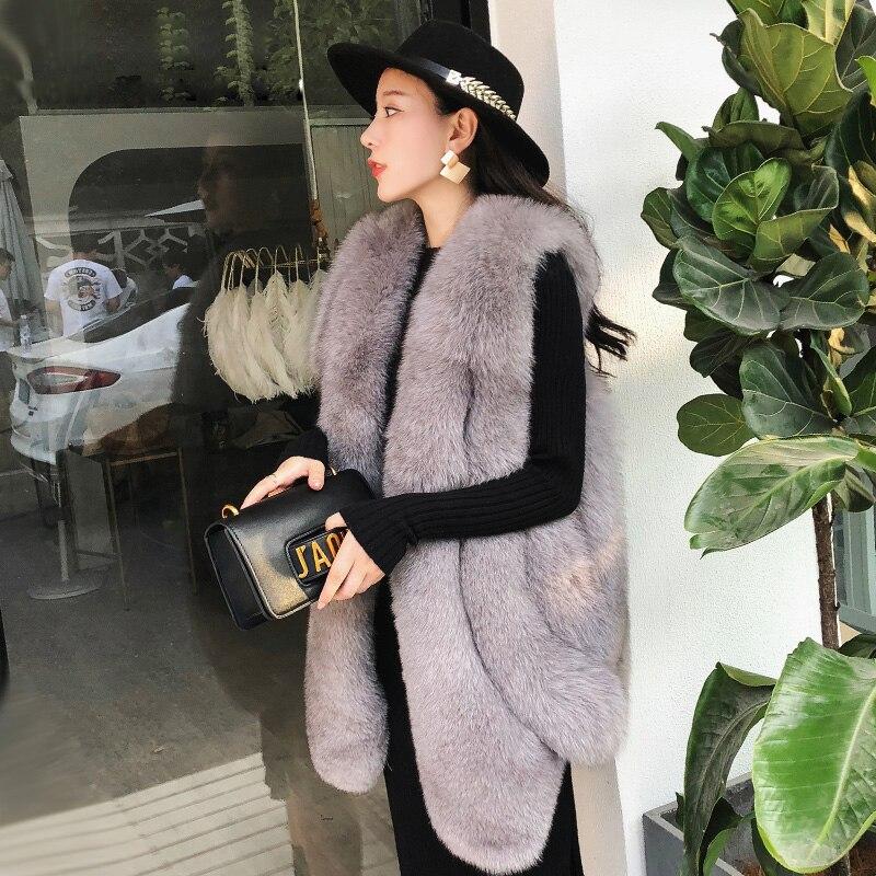2018 noir gris Naturelle corail Rf0203bb Longue De Gilet Conception Style ardoisé Fourrure Nouvelle Renard Fox Rouge Beige Réel arw4xaTvq