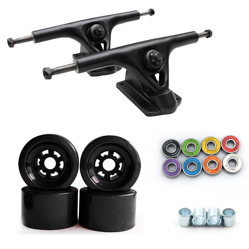 78A 90*52mm Longboard ruedas PU Skateboard 8 pulgadas puente Longboard camiones ABEC-9 rodamientos bujes Skateboard ruedas de carretera camión