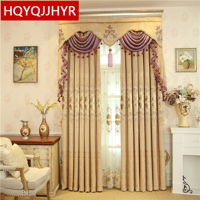 European Style Custom Luxury Villas Embroidered Blackout Curtains Living Room Window Curtain Bedroom