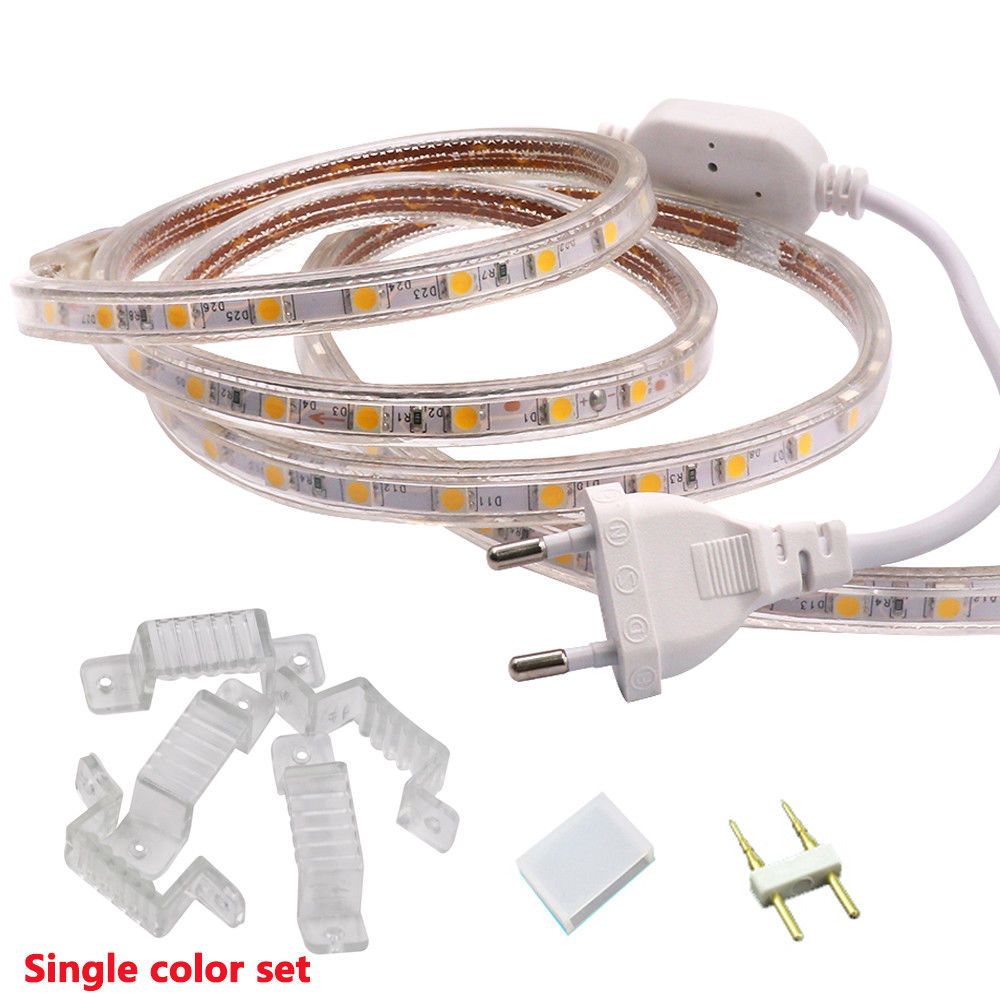 SMD 5050 Led Strip 220V Flexible 60leds/m Light 1m 5m 10m 15m 20m 100m Power Plug Warm White/white/RGB  Waterproof Ribbon Tape