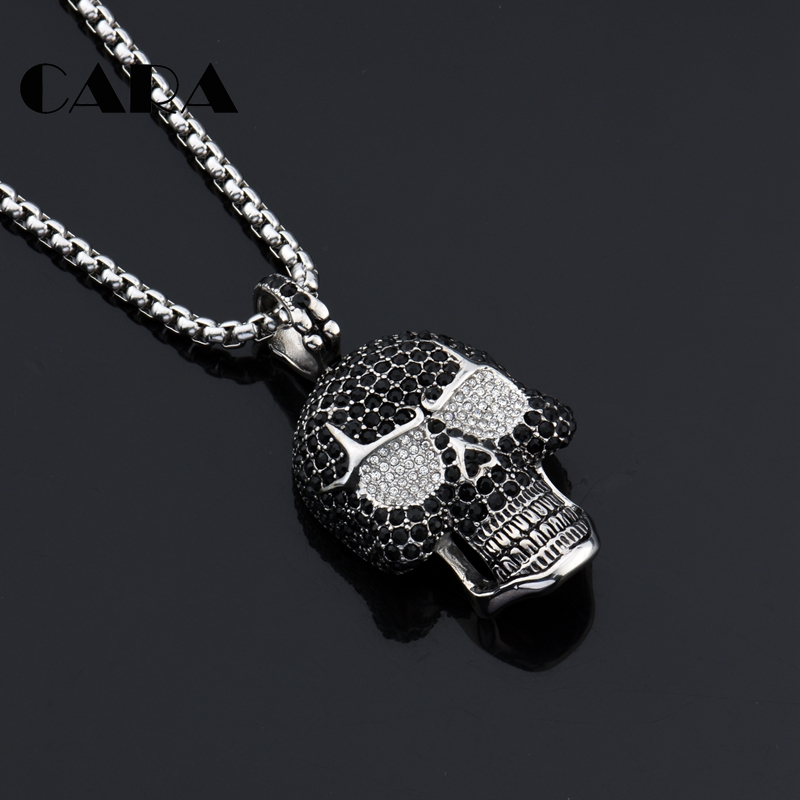 2019 New Bling Bling Iced out full rhinestones Skull pendant necklace 316L Stainless steel men hip hop necklace jewelry CAGF0428 in Pendant Necklaces from Jewelry Accessories
