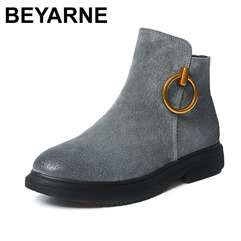 BEYARNE Brand New Women Genuine Leather Boots Winter Snow Boots Fashion Vintage High Quality Woman Ankle Boots Shoes flyfor flyfor fl009awioe18