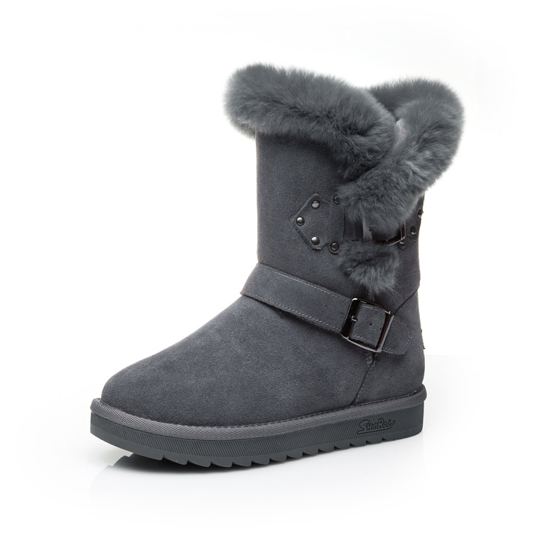 41 Genuine Lether Natrual Wool Snow Boots Woman 2017 New Winter Warm Female Cotton Shoes Mid High Ladies Snow Shoes