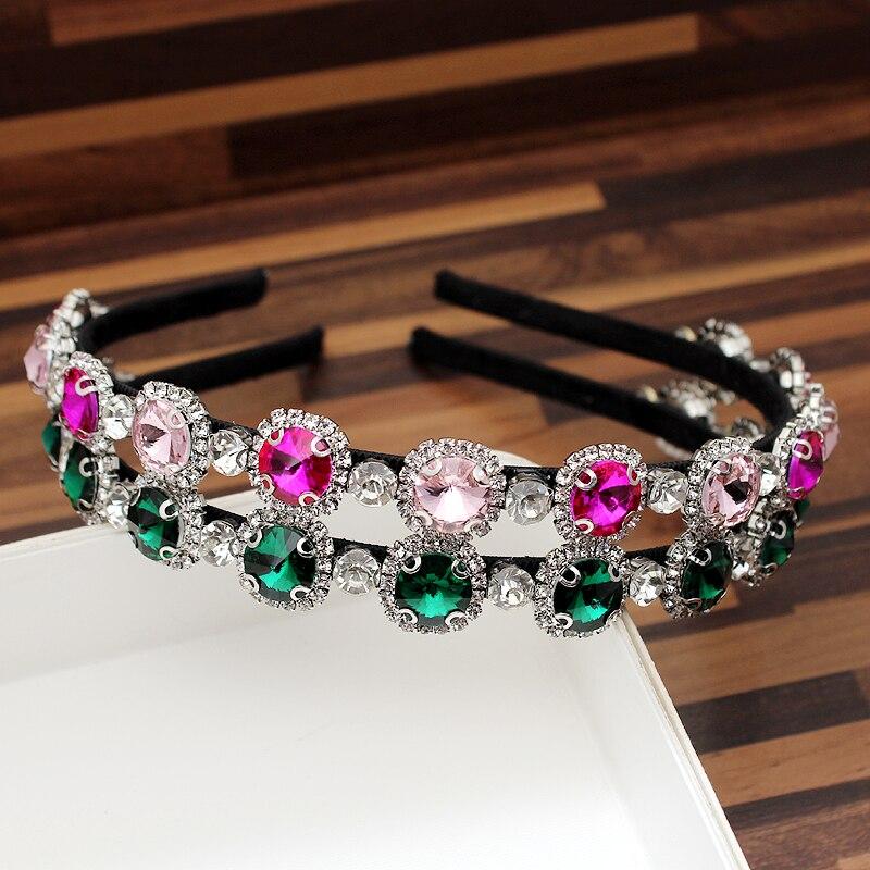 Diamante Headband Charming Hair-Accessories Crystal Round Party Elegant Green Women Luxury