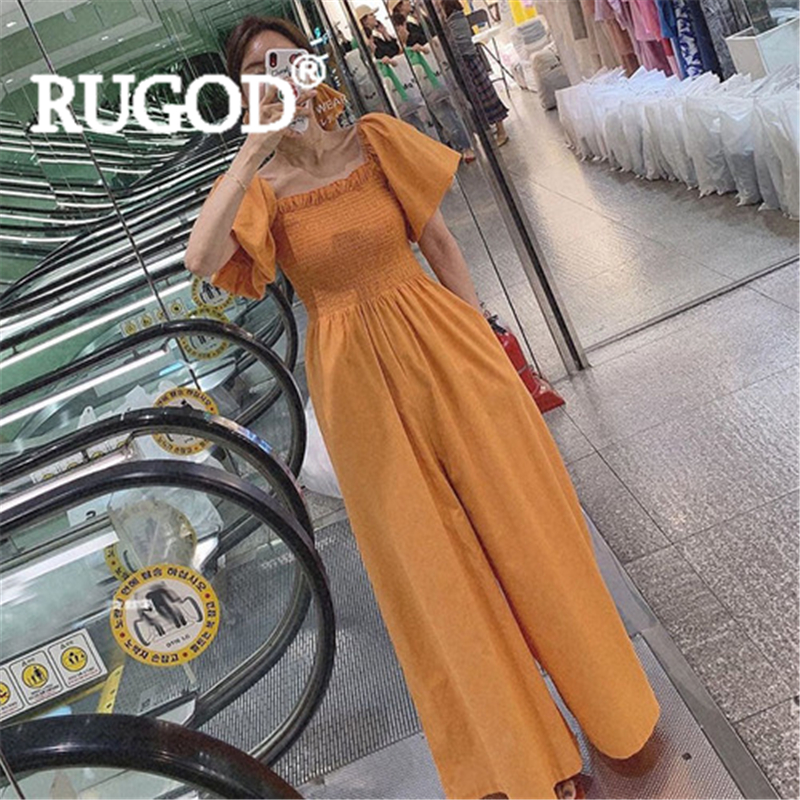 RUGOD Women solid cotton linen jumpsuits square collar puff sleeve stringy selvedge slim loose pants fashion female korean suits