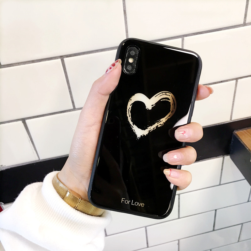 BONVAN Tempered Glass Case For iPhone X Lovely Heart Hard Back Cover Soft Silicone Bumper For iPhone 7 6S 8 Plus 6 Plus Cases13
