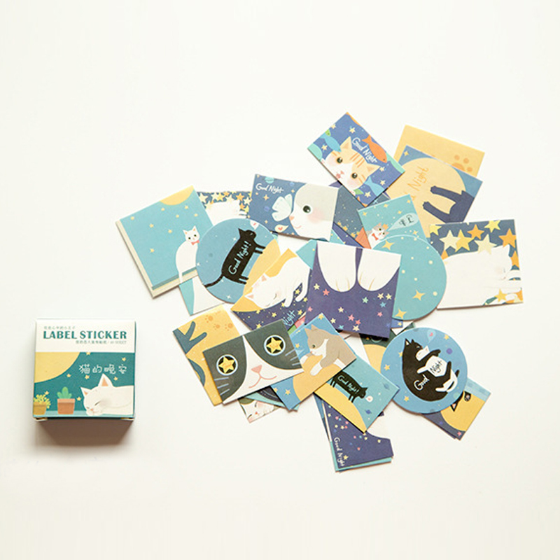 40pcs/pack Cute Night Cat Memo Pad Stickers Posted It Kawaii Planner Scrapbooking Stationery Sticker Escolar School Supplies