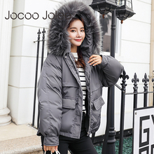 Jocoo Jolee 2018 Real New Arrival Down Jacket Winter Women Single Full Slim Hair Cotton-padded Clothes Big Coat