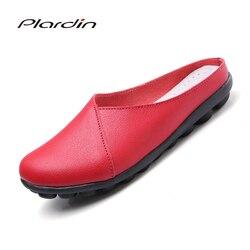 Plardin vaca muscular ballet verão mulher sapatos de couro genuíno plana flexível enfermeira ervilhas macias loafer apartamentos flip flops