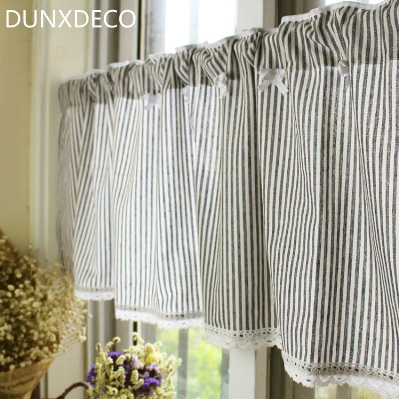 DUNXDECO Short Curtains For Kitchen Door Half Cortinas Mediterranean Small  Stripe Rideau Window Blind Coffee Store