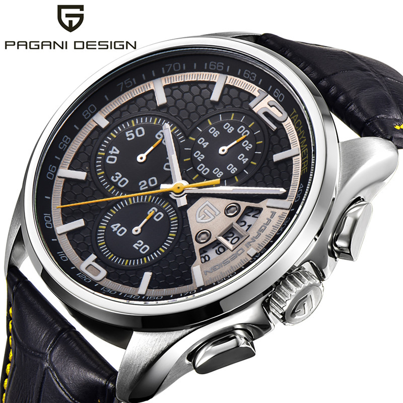 PAGANI DESIGN Yellow Outdoor Army Quartz Wristwatch Stops Date Analog Men Watches Genuine Leather Pin Buckle