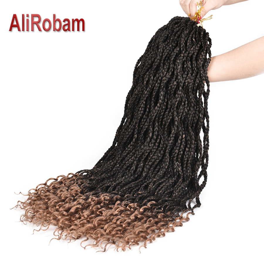 Alirobam Curly End Box Braid Ombre Brown Or Burgundy Crochet Braids