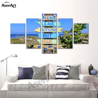 5 Panel Canvas Art Scenery and Road Signs Painting Prints on Canvas Wall Art Picture Home Decoration for Living Room