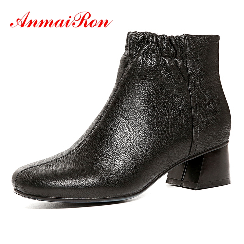 AnmaiRon  Size 34-39 ZYL1546 Round Toe  Basic  Zip  Square Heel  Winter Boots  Womens Shoes  Zapatos De Mujer  BootiesAnmaiRon  Size 34-39 ZYL1546 Round Toe  Basic  Zip  Square Heel  Winter Boots  Womens Shoes  Zapatos De Mujer  Booties