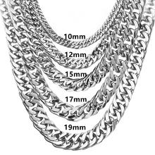 все цены на Granny Chic Stainless Steel Polished Necklace for Men Curb Chain Link Silver Tone Mens Necklace 8/10/12/15/17/19mm Never Fade онлайн