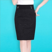 2015 Fashion Women Autumn Winter Skirts Short Sleeve Knitted Leather Patchwork Black Skirts Straight Knee Length Skirts Lace